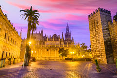 Seville, Spain Plaza. Seville, Spain historic cityscape in Plaza de Triunfo Royalty Free Stock Images