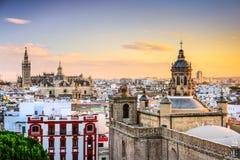 Seville, Spain Skyline. Seville, Spain city skyline at dusk Royalty Free Stock Photography