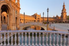 seville spain Spanjoren kvadrerar Plaza de Espana fotografering för bildbyråer
