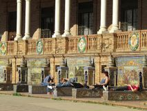 seville spain Spanjoren kvadrerar Plaza de Espana royaltyfria foton