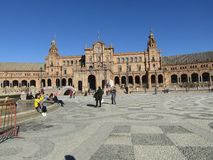 seville spain Spanjoren kvadrerar Plaza de Espana arkivbild
