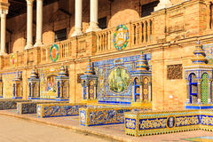 Seville, Spain. Tiled walls of Spanish Square Plaza de Espana Stock Photo