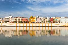 Seville, Spain, waterfront view to the historic architecture of the Triana district. Seville, waterfront view to the historic architecture of the Triana district stock images
