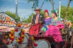 Ståta av vagnar på Seville'sens den April mässan Royaltyfri Fotografi