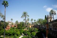 Seville Spanien - Juni 19: Panoramautsikt av Alcazarträdgården, Royaltyfria Bilder