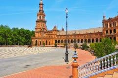 Plaza de Espana i Seville, Spanien Arkivbilder