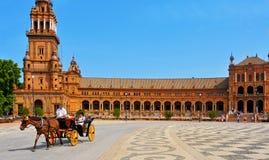 Plaza de Espana i Seville, Spanien Royaltyfria Foton