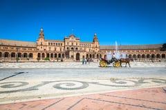Seville Spanien -3 May, 2014: berömda Plaza de Espana gammal landmark arkivbild