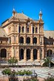 Seville Spanien -3 May, 2014: berömda Plaza de Espana gammal landmark arkivfoton