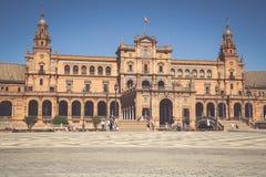 Seville Spanien -3 May, 2014: berömda Plaza de Espana gammal landmark royaltyfria bilder