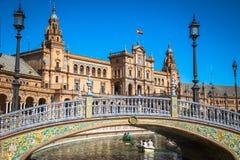 Seville Spanien -3 May, 2014: berömda Plaza de Espana gammal landmark royaltyfria foton