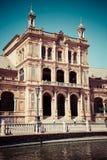 Seville Spanien -3 May, 2014: berömda Plaza de Espana gammal landmark fotografering för bildbyråer