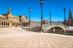 Seville Spanien -3 May, 2014: berömda Plaza de Espana gammal landmark arkivbilder