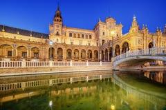 Seville Spanien: Plazaen de Espana, Spanien fyrkant arkivbilder