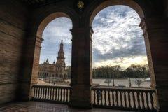Seville Spanish Plaza corridors. Spanish Plaza (Plaza de Espana) in Seville taken during sunset hours. Seville, Spain Stock Photos
