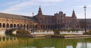 Seville sun light plaza de espana panorama 4k spain stock footage