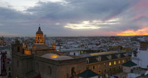 Seville sunset panorama cathedral view 4k spain stock footage