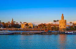 Seville sunset skyline torre del Oro and Giralda royalty free stock images