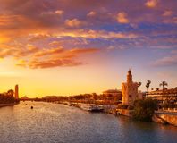 Seville sunset skyline torre del Oro in Sevilla royalty free stock photography