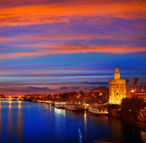Seville sunset skyline torre del Oro in Sevilla. Andalusia Spain stock images