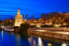 Seville sunset skyline torre del Oro in Sevilla. Andalusia Spain royalty free stock photos