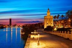 Seville sunset skyline torre del Oro in Sevilla. Andalusia Spain stock image