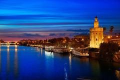 Seville sunset skyline torre del Oro in Sevilla. Andalusia Spain Stock Photo