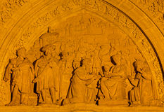 Seville - The Three Magi scene on the Puerta de los Palos on the  Cathedral de Santa Maria de la Sede by Miguel Perrin (1481) Royalty Free Stock Images