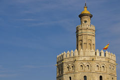 Seville - Torre del Oro. Torre del Oro (Tower of gold) is one of the most famous landmarks in Seville. The tower is placed on the banks of Guadalquivir river Royalty Free Stock Image