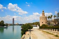 Seville Torre del Oro torn i Sevilla Andalusia Royaltyfri Foto