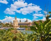 Seville Torre del Oro torn i Sevilla Andalusia Royaltyfri Bild