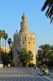 Seville - Torre Del Oro - Tower of Gold. The Torre del Oro English: `Tower of Gold` is a dodecagonal military watchtower in Seville, southern Spain stock images