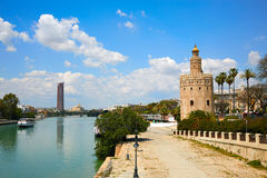 Seville Torre del Oro tower in Sevilla Andalusia. Spain royalty free stock photo
