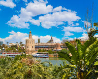 Seville Torre del Oro tower in Sevilla Andalusia. Spain royalty free stock image