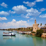 Seville Torre del Oro tower in Sevilla Andalusia. Spain royalty free stock photos