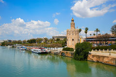 Seville Torre del Oro tower in Sevilla Andalusia. Spain stock photos