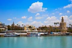 Seville Torre del Oro tower in Sevilla Andalusia. Spain stock photo