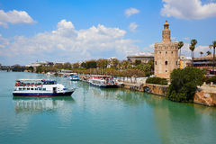 Seville Torre del Oro tower in Sevilla Andalusia. Spain stock images