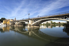 Seville Triana Bridge. View of the Triana Bridge over the Guadalquivir River in Seville, Spain royalty free stock photography