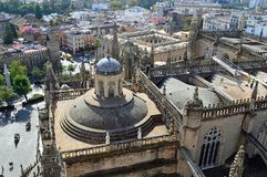 Seville - View of the cathedral from the Giralda royalty free stock images