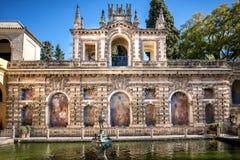 Seville - View of Real Alcazar`s Galeria de Grutesco the Royal Palace, Sevilla, Spain. royalty free stock photography
