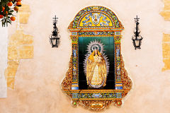 Seville, Virgin Mary Ceramic Image Stock Images