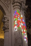 Seville - The windowpane light on the column baroque Church of El Salvador (Iglesia del Salvador). Royalty Free Stock Photo