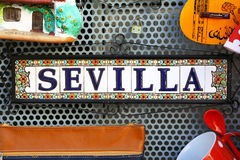 Seville written on a souvenir for tourists Stock Images