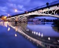 Sevillie, romantic panorama of the bridge Royalty Free Stock Image