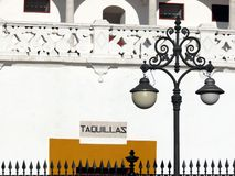 Sevillla, Hiszpania, 01/02/2007 Plaza de toros Biletowego biura detai zdjęcia stock