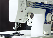 Sew machine yarn and needle work tool Royalty Free Stock Image