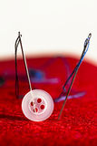 Sew needles, strings and button - repair kit Stock Images