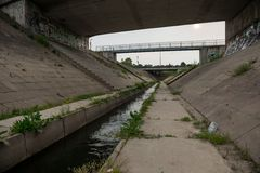 Sewage canal outdoors with water Royalty Free Stock Photography