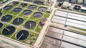 Sewage Farm: waste water treatment plant. Aerial drone photo looking down onto a wide angle view of a waste water treatment processing plant in North London Stock Images